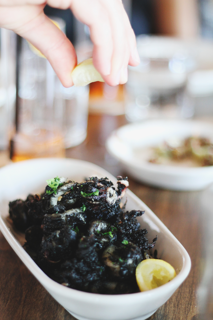 The squid ink fried calamari at Scopa Italian Roots in Venice