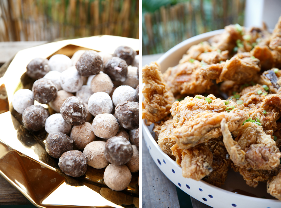 Fried chicken and donut holes